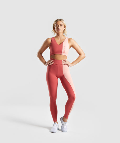 Gymshark Duo Leggings - Brick Red/Peach 3