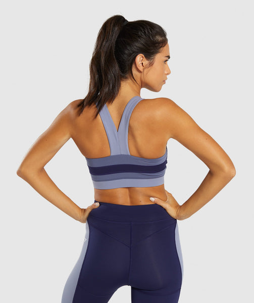 Gymshark Illusion Sports Bra - Evening Navy Blue/Steel Blue/Night Shadow Blue 1