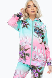 HYPE FADE FLORAL WOMEN'S POLY ZIP HOODIE