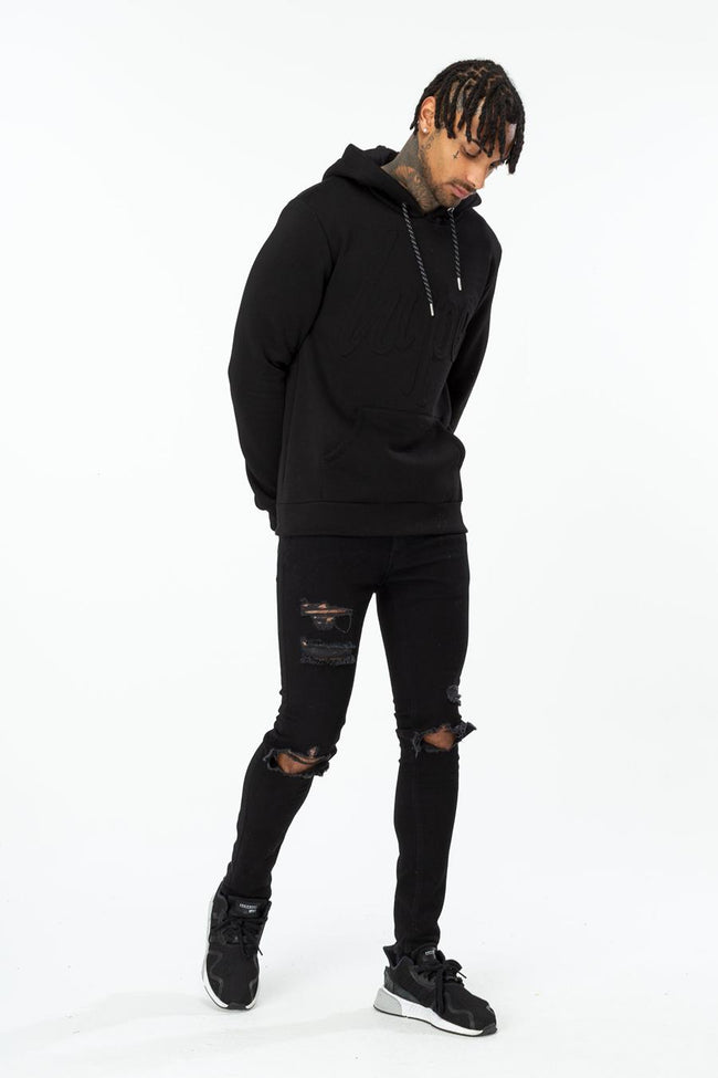 HYPE BLACK EMBOSSED SCRIPT MEN'S PULLOVER HOODIE