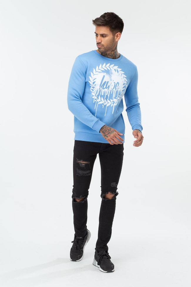 HYPE BLUE DRIP CREST MEN'S CREWNECK