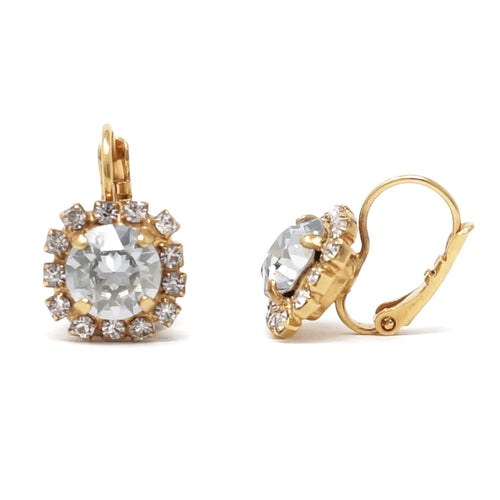 Pave Round Cut Drop Earrings (Blue Shade, Gold)