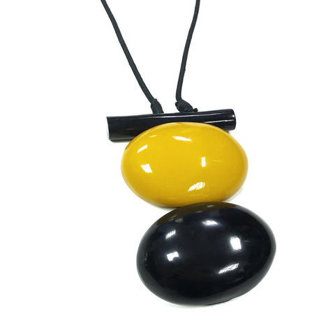Rebecca - Long Mustard Pendant Bead Necklace