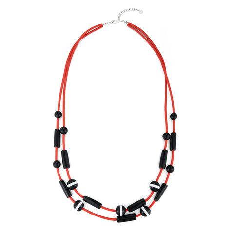 Violetta - Long Red Layer Rubber Necklace