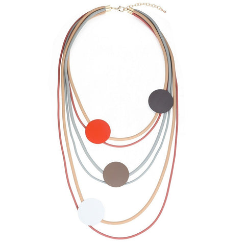 Sophia - Long Rubber Layer Disc Necklace