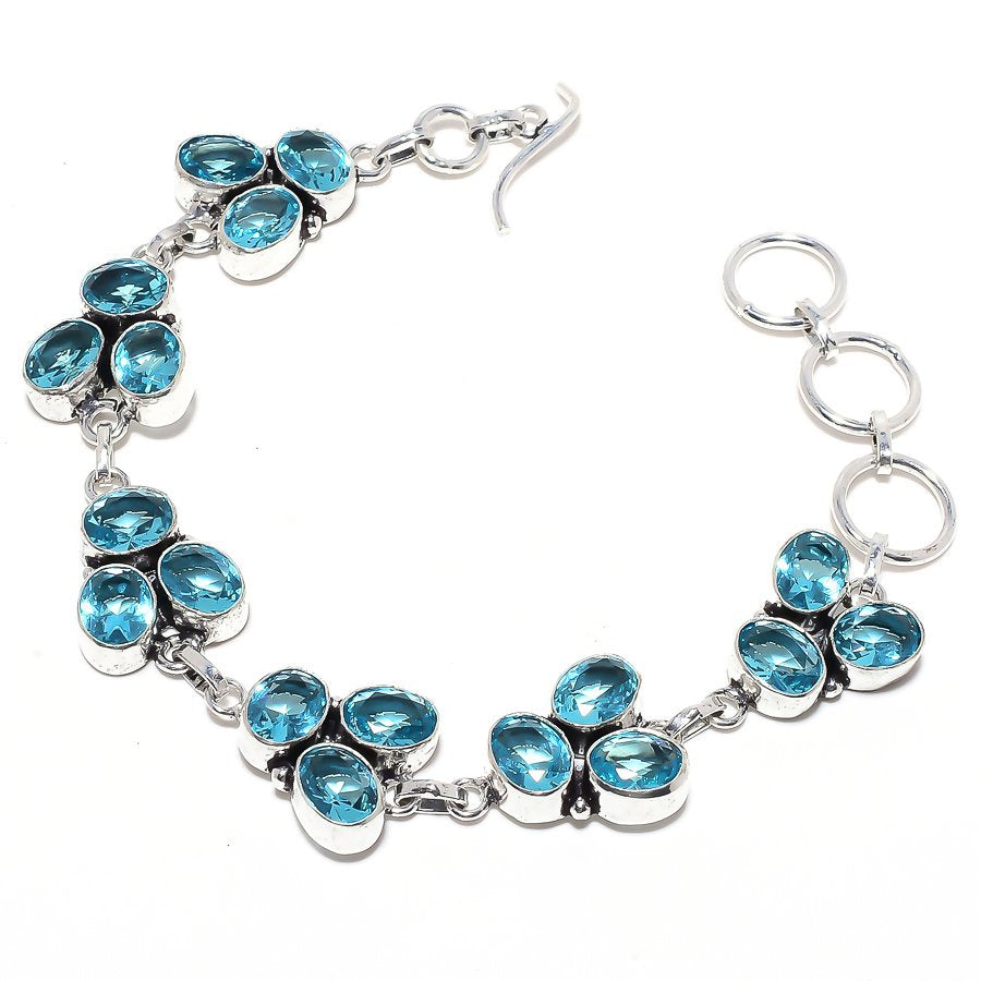 Blue Topaz Gemstone Handmade Jewelry Bracelet 7-8 Inches RB106