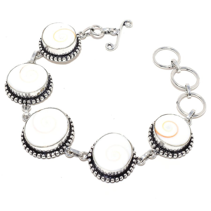 Shiva Eye Shell Gemstone Handmade Jewelry Bracelet 7-8 Inches RB61