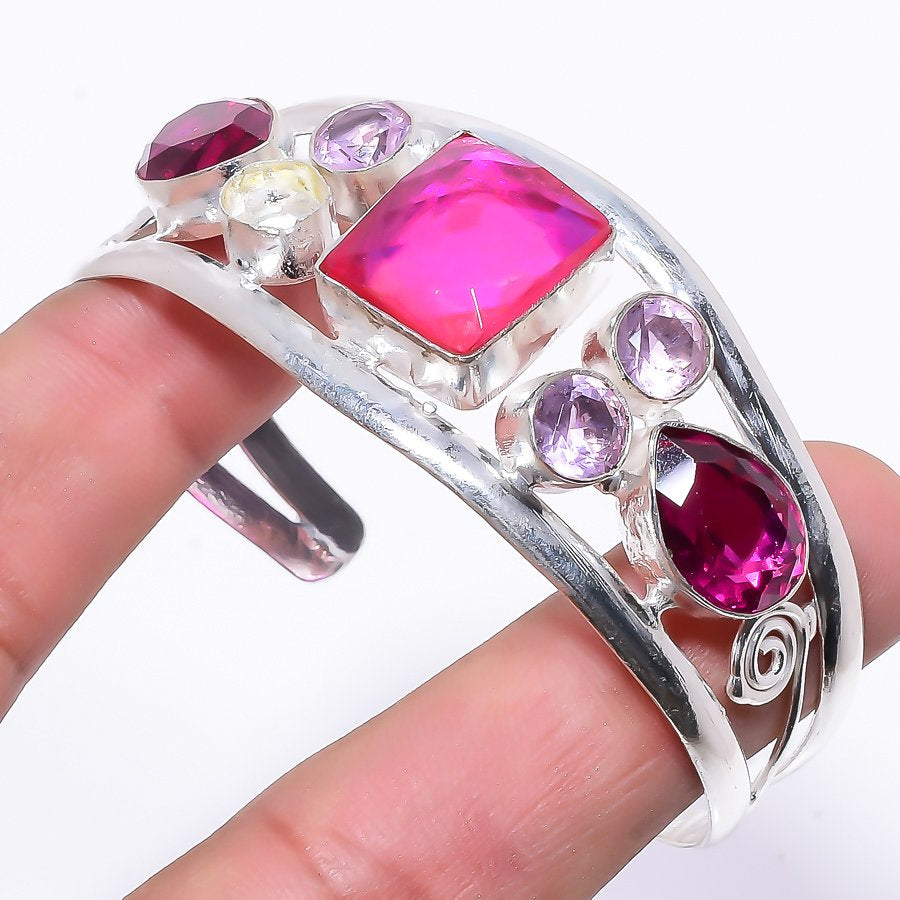 Pink Mystic Topaz Jewelry Cuff Bracelet Adjustable RC175