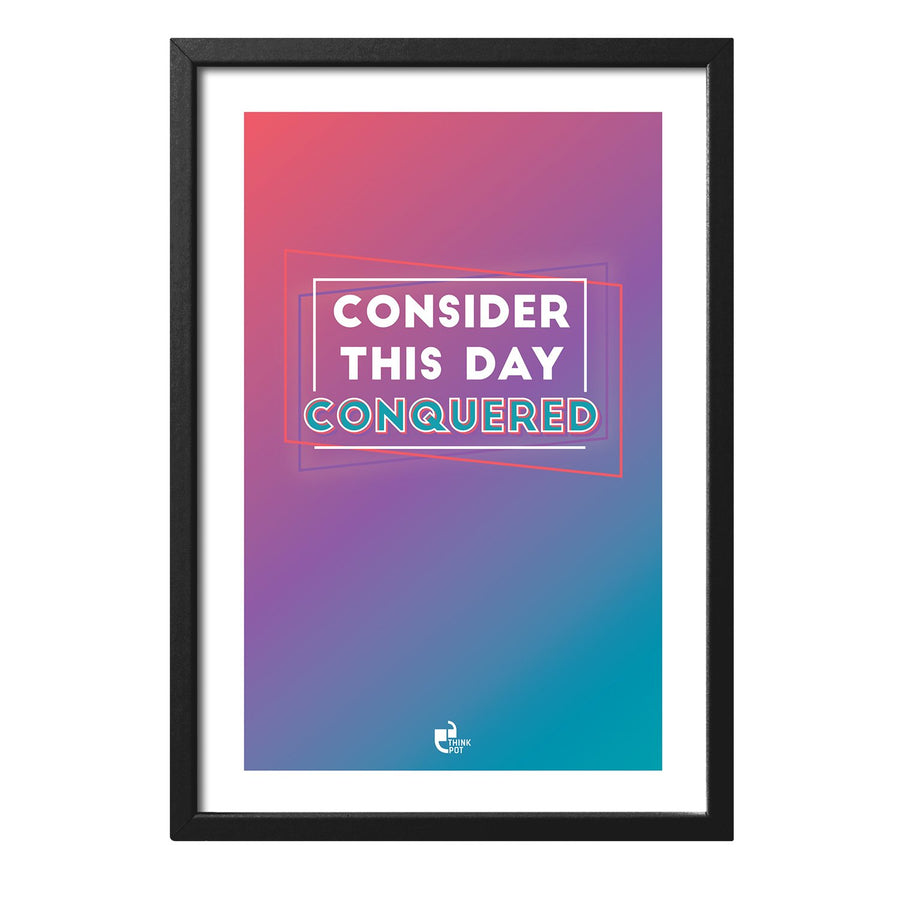 Day Conquered Black Rectangular Frame