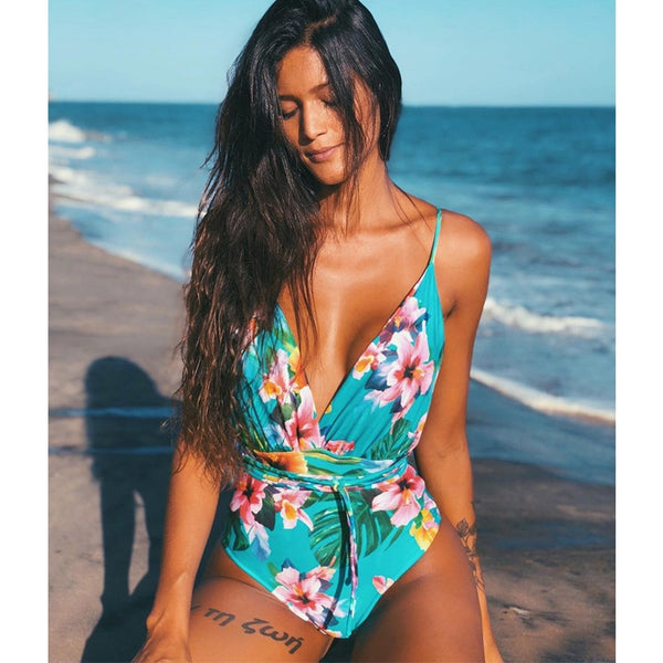 Floral One Piece Backless Swimsuit