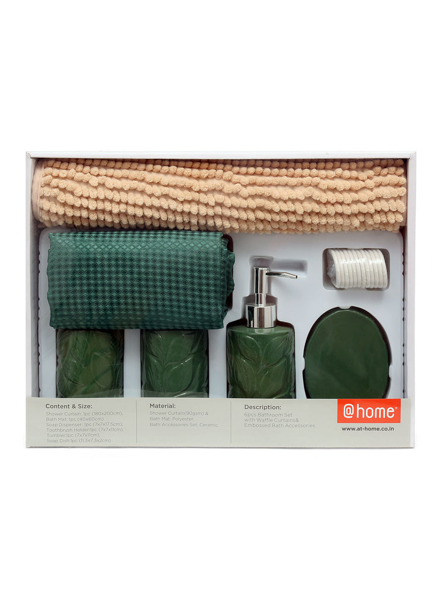 Solid Bath Accessories Set Of 6 Piece (Emerald)