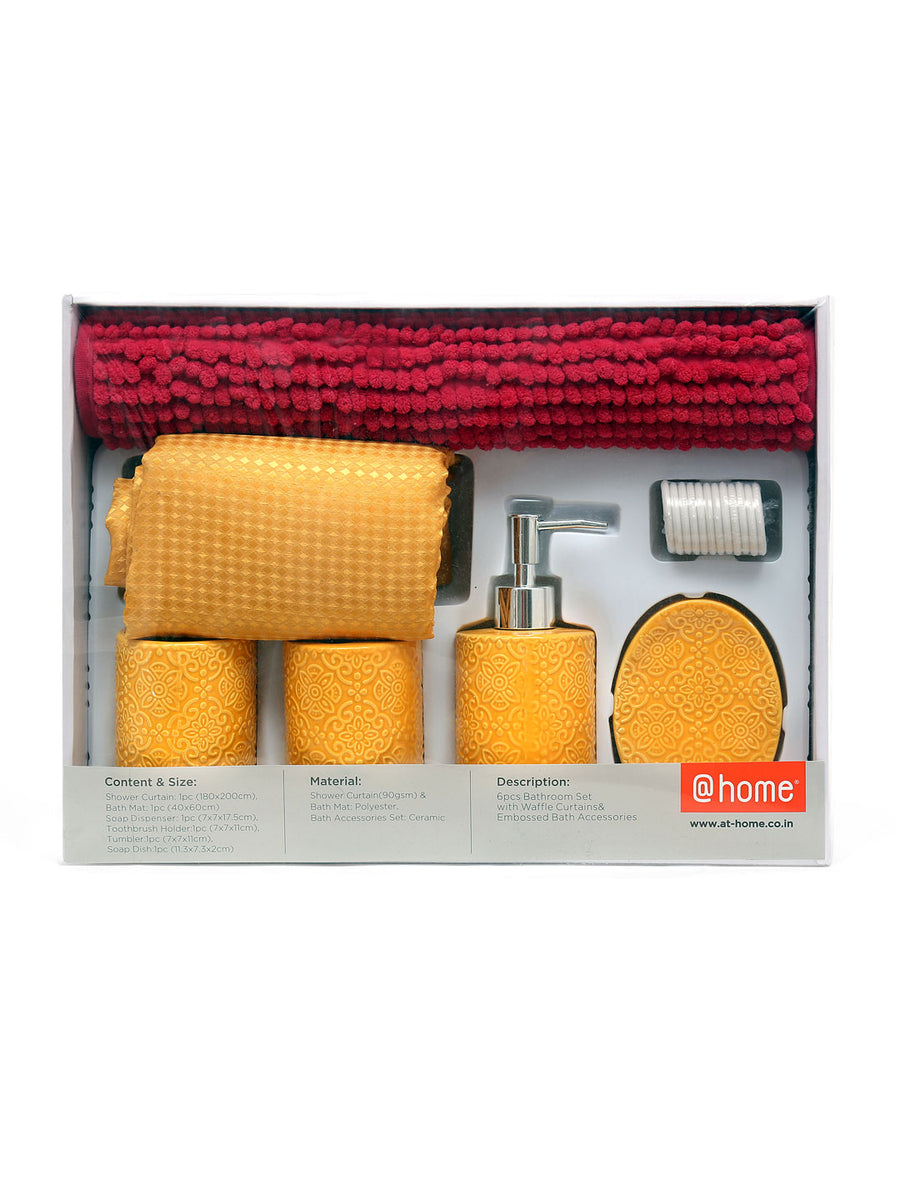 Solid Bath Accessories Set Of 6 Piece (Mustard)