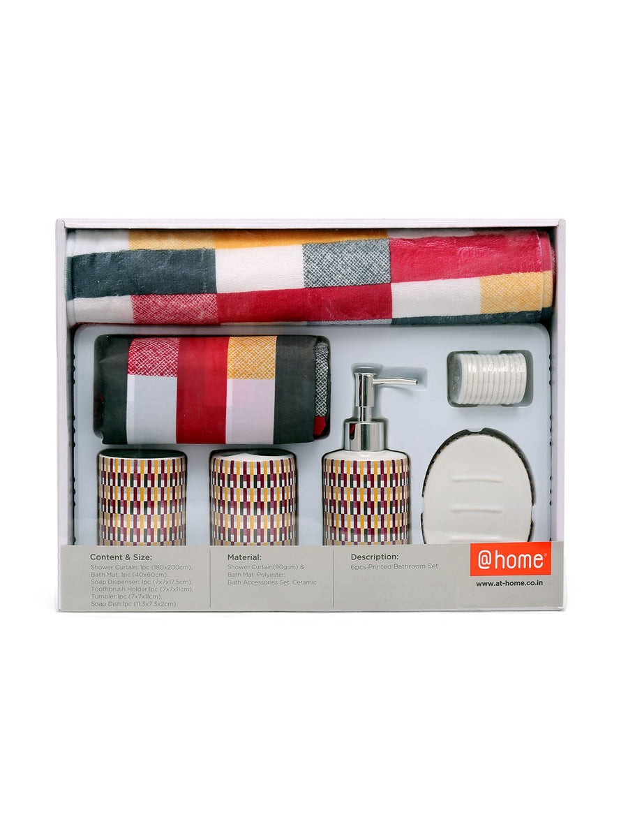 Ikat Bath Accessories Set Of 6 Piece (Orange)