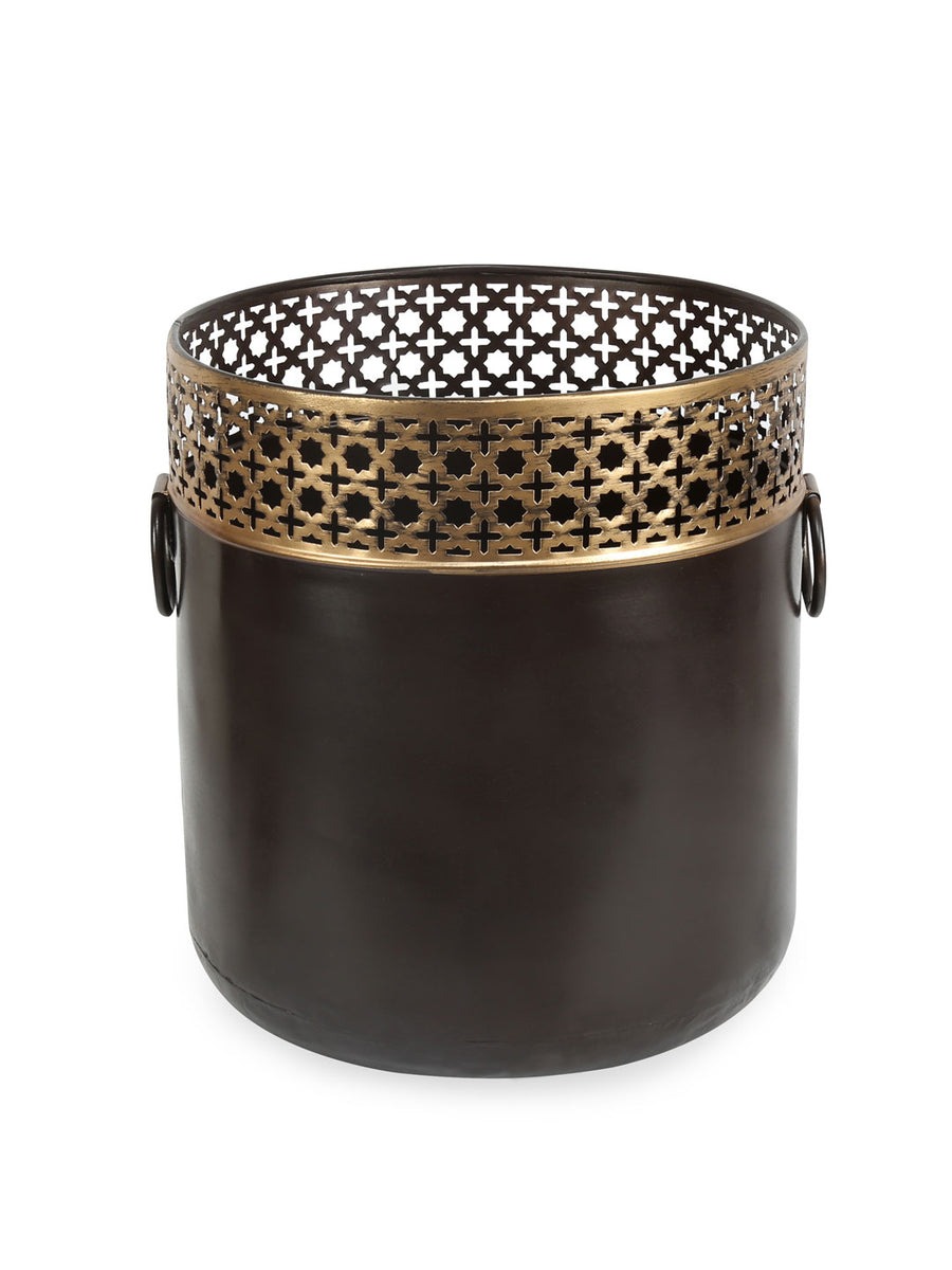 Round Bulging Jali Planter (Black & Green)