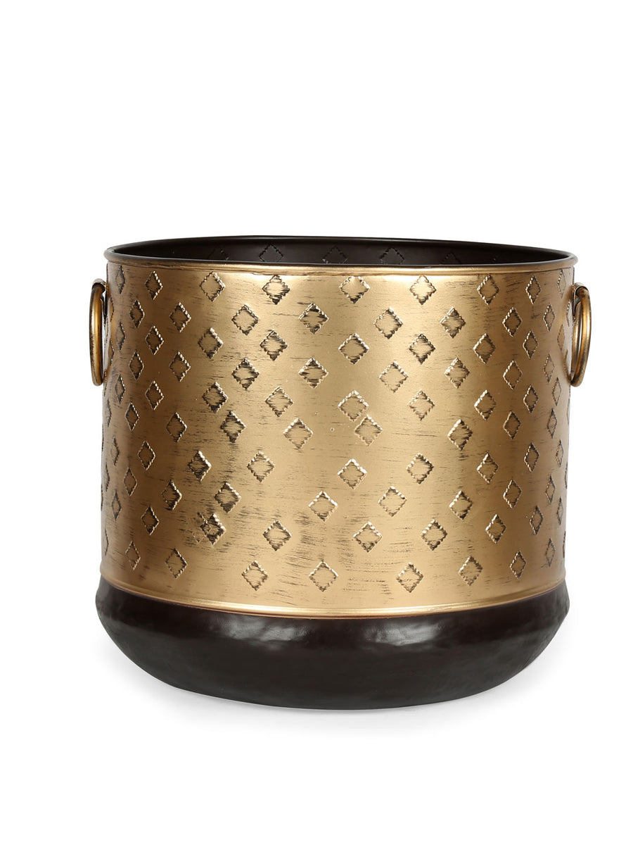 Straight Jali Round Planter (Gold)