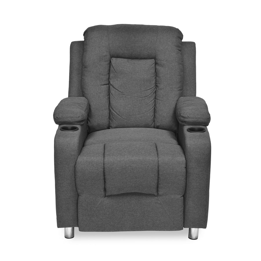 Zuni 1 Seater Push Back Sofa Recliner Cup Holder (Grey)