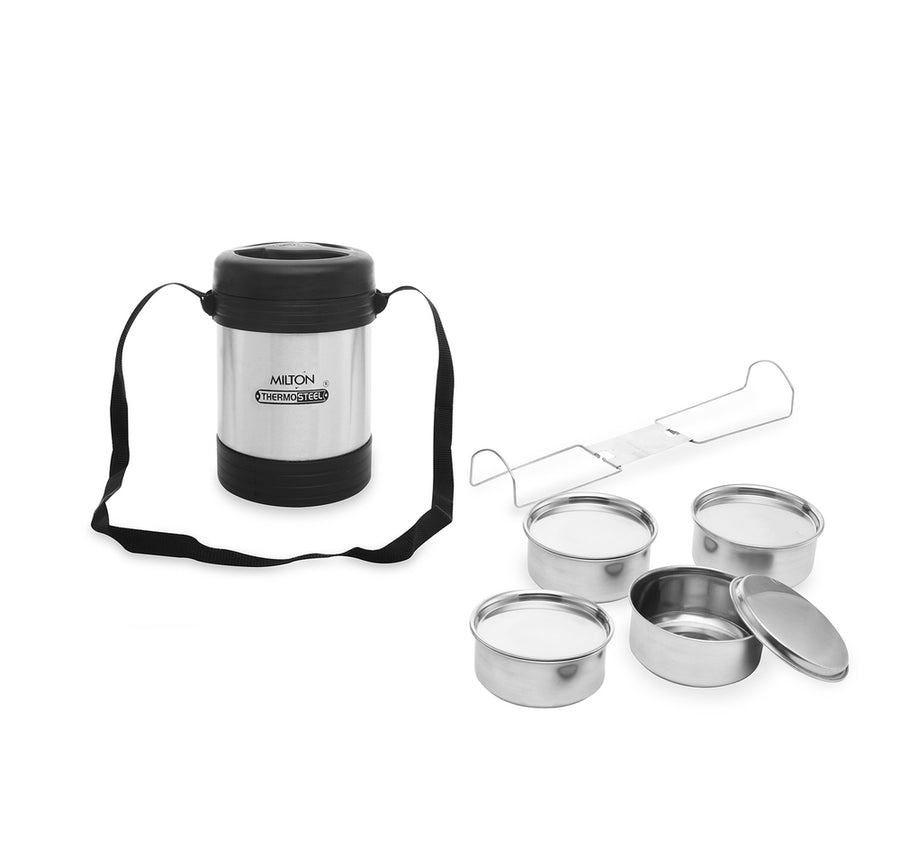 Milton Legend Lunch Box Pack of 4 (Black & Silver)