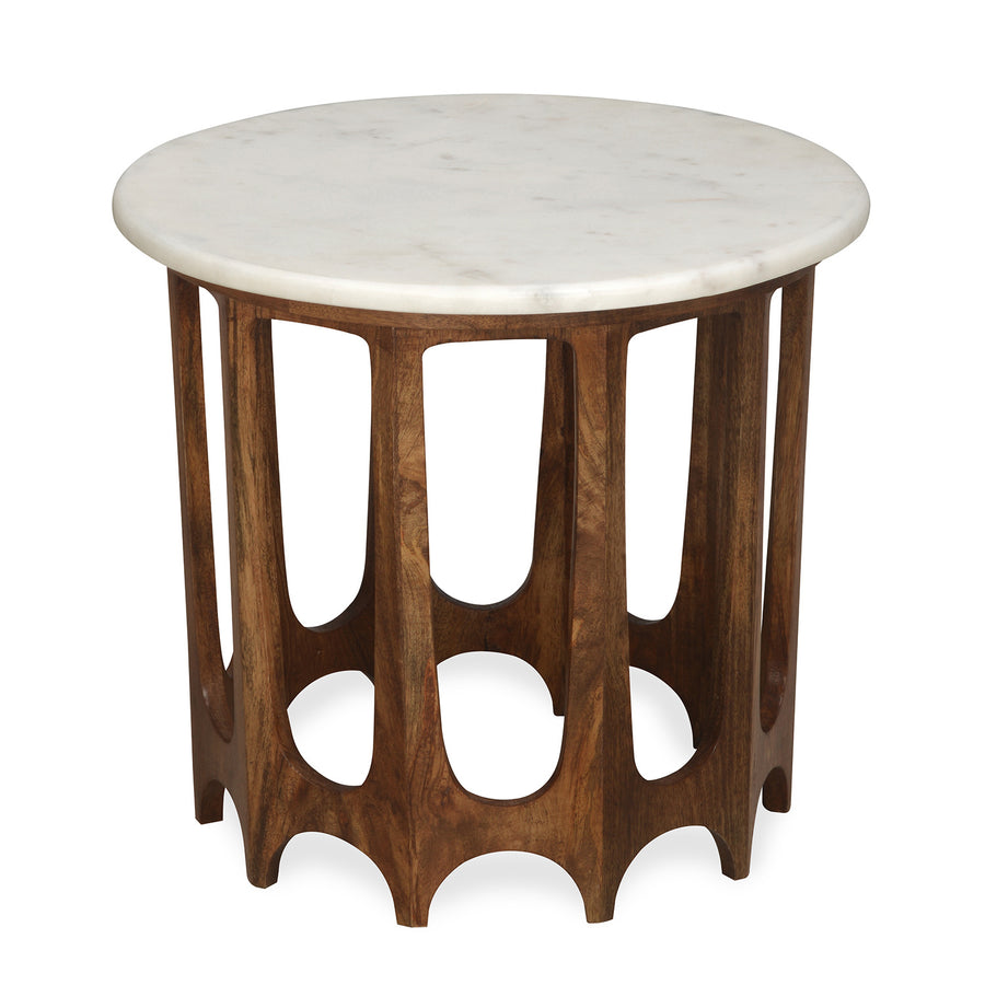 Sinclair Side Table with Marble Top (Walnut)