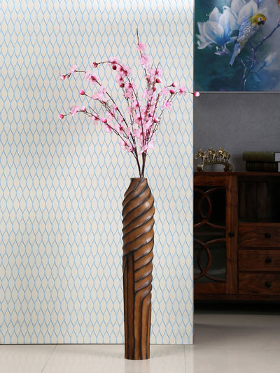 Wrap Wooden Tall Vase (Brown)