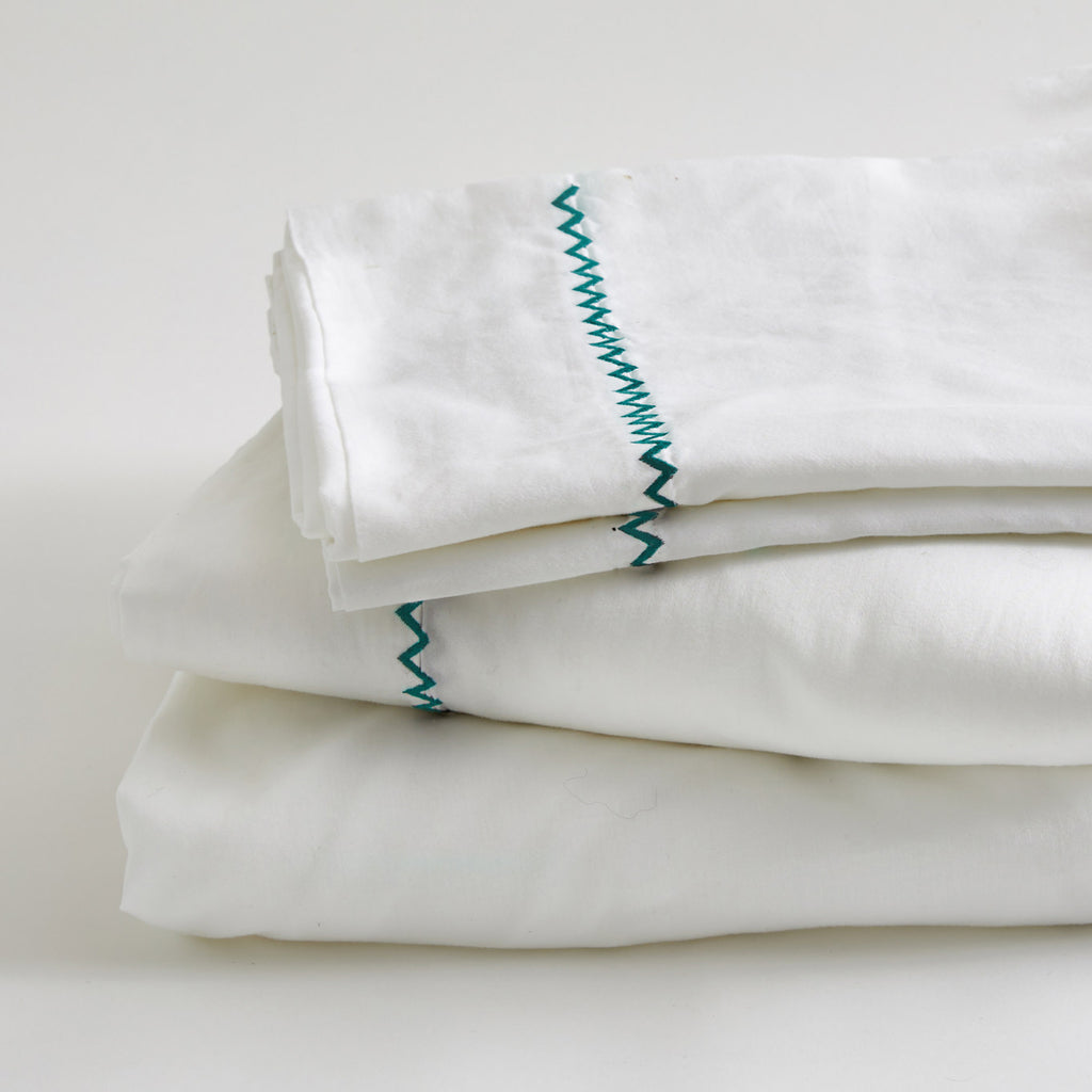 TEAL ZIGZAG SHEET SET
