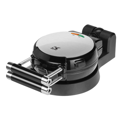 Black and Stainless Steel Belgian Waffle Maker with Detachable Plates.