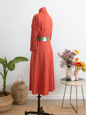 Late 40s Coral Gabardine Day Dress, S M