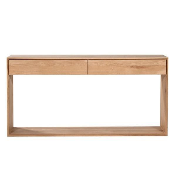 Ethnicraft Oak Nordic Console with 2 Drawers 120