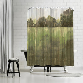 Green Field Ii by PI Creative Art Shower Curtain