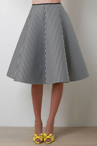 Kinny & Howie Lydia Vintage Style Black & White Stripe Pin Up Rockabilly Circle Skirt