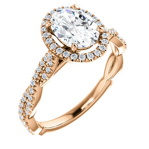 Oval Twist Halo Style Engagement Ring - I Heart Moissanites