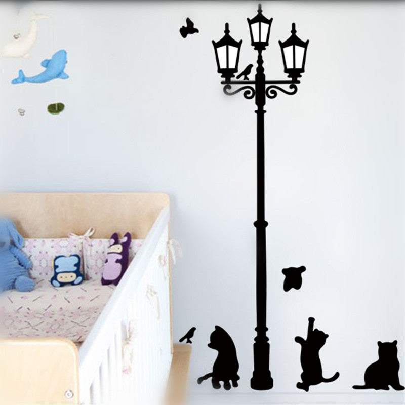 Removable Black Lamp with Cat and Bird Vinyl Wall Sticker