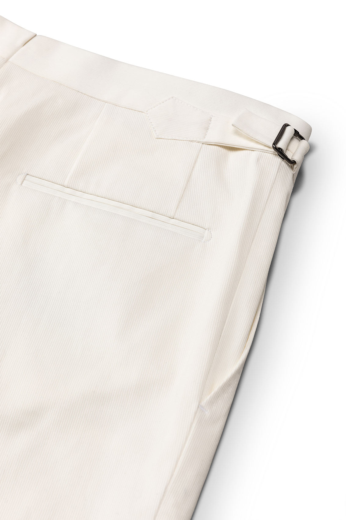 P Johnson White Pincord Tailored Trousers