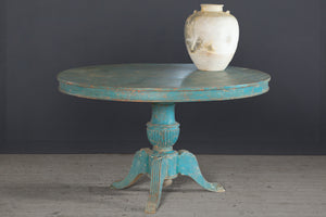 Large Blue Painted Round Dining Table