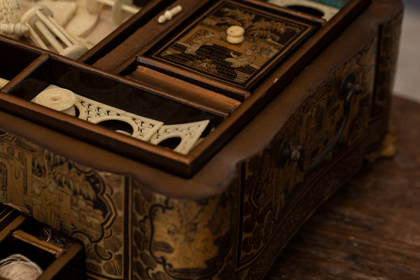 18th Century Black Lacquer Chinese Export Sewing Box with Original Interior