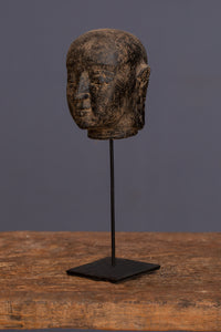 Small Mounted Carved Lava Stone Head of Buddha
