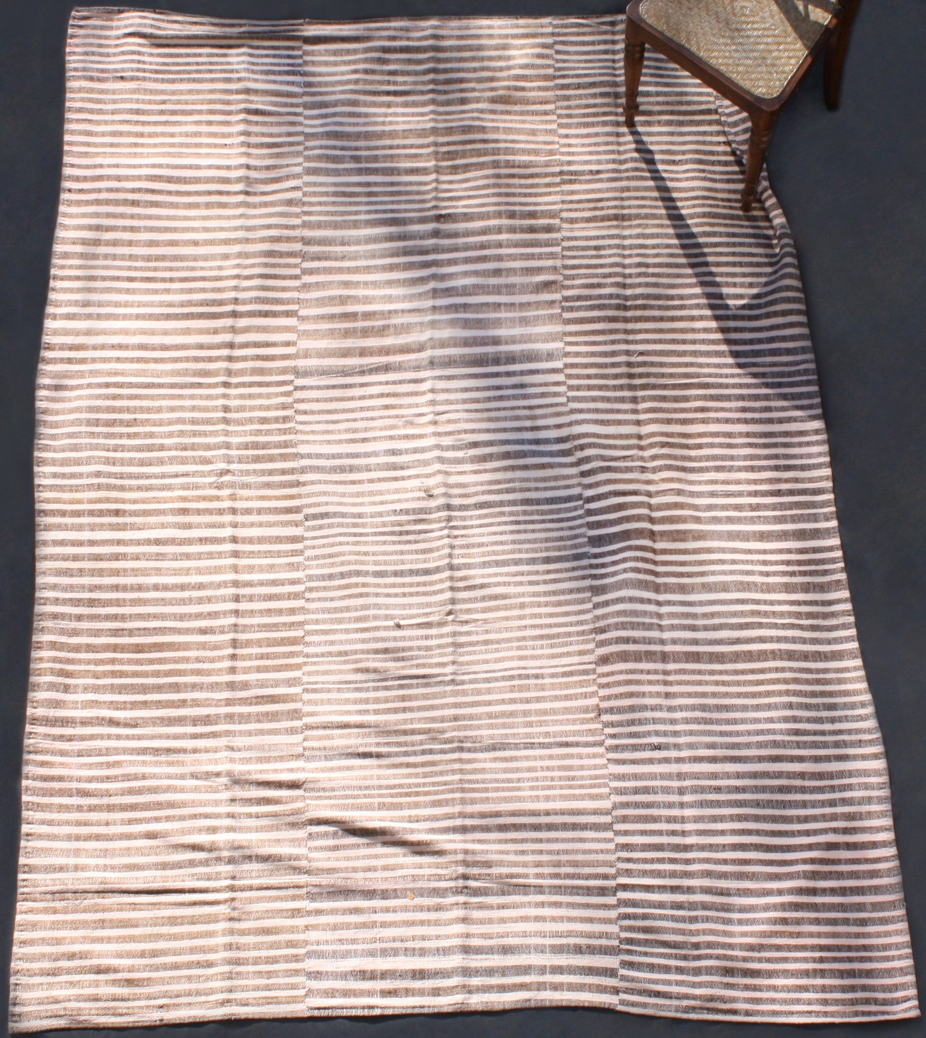 Wool Mersin With Natural Brown And Pale Rose Stripes From North Iran