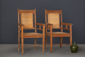 Pair of Teak & Rattan Lounge Chairs