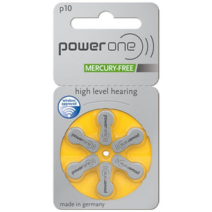 6 Pack Powerone Hearing Aid Batteries, Size 10 - Neosonic Hearing Amplifiers
