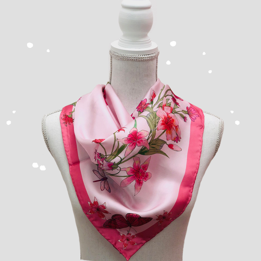 Pink October Square Scarf - Silk Twill