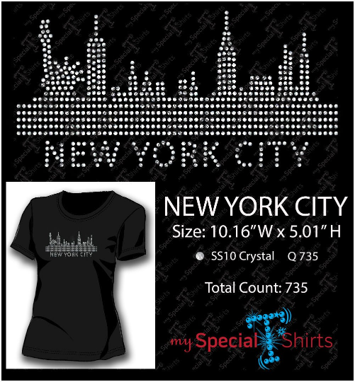 New York Skyline Rhinestone Digital Download