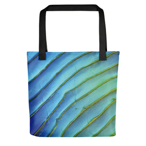 Tote bag featuring a salmon scale. Imaged with light microscopy, using differential interference contrast. Image by John Chapman