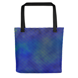 Tote bag featuring a crystalline manganese oxide nanoparticle, with atoms of manganese and oxygen, a form of manganese oxide used in the production of lithium ion batteries, common in portable electronic devices. Imaged with transmission electron microscopy (TEM)