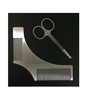 Metal Beard Shaper, Comb Stencil and Scissors.  All you need to neaten facial hair!