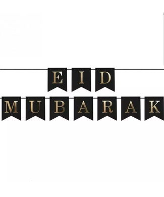 Black and Gold Eid Mubarak Bunting. Pretty, modern Eid decorations