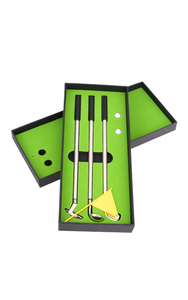 Mini Desk Golf. Club Pen set of 3 with balls and mini golf course