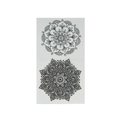 Henna Mandala Style Black Temporary Tattoo.