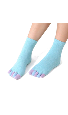 Multicolored ladies blue toe socks