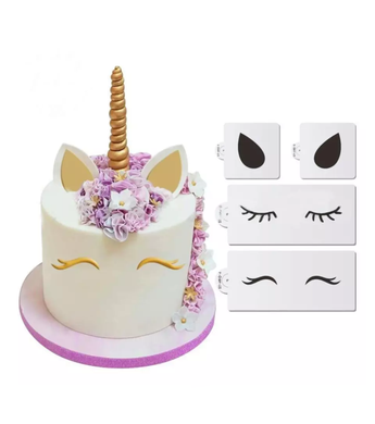 Create a stunning unicorn cake with this great set of stencils!