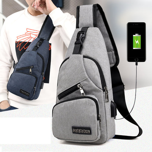 *Male Shoulder Bags USB Charging Crossbody Bags Men Anti Theft Chest Bag School Summer Short Trip Messengers Bag