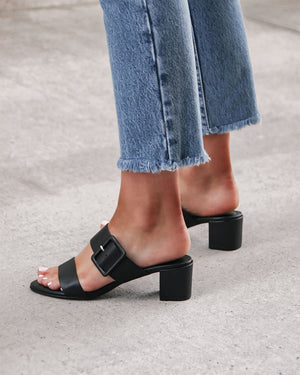 RAIN LOW SLIDES BLACK LEATHER